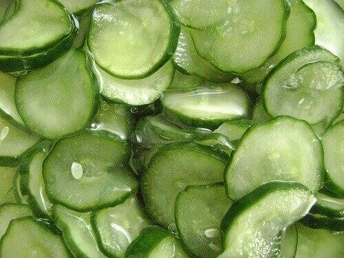 plakjes komkommer