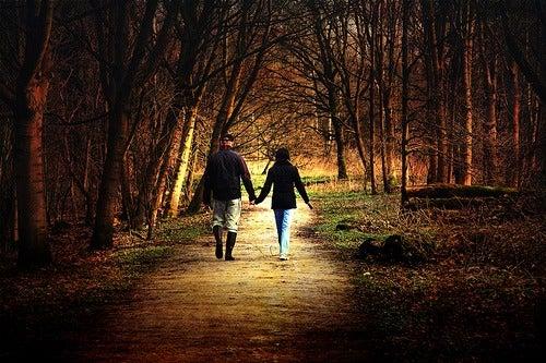 Contact met de natuur door te wandelen