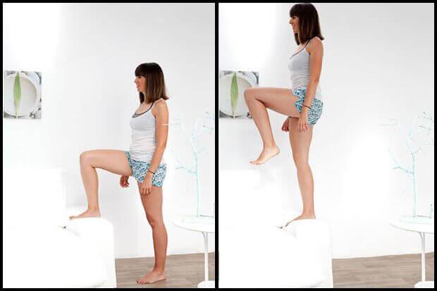Vrouw doet steps op een stoel