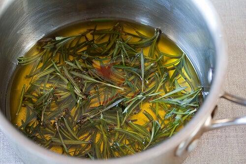 Rozemarijn in een pan met olijfolie