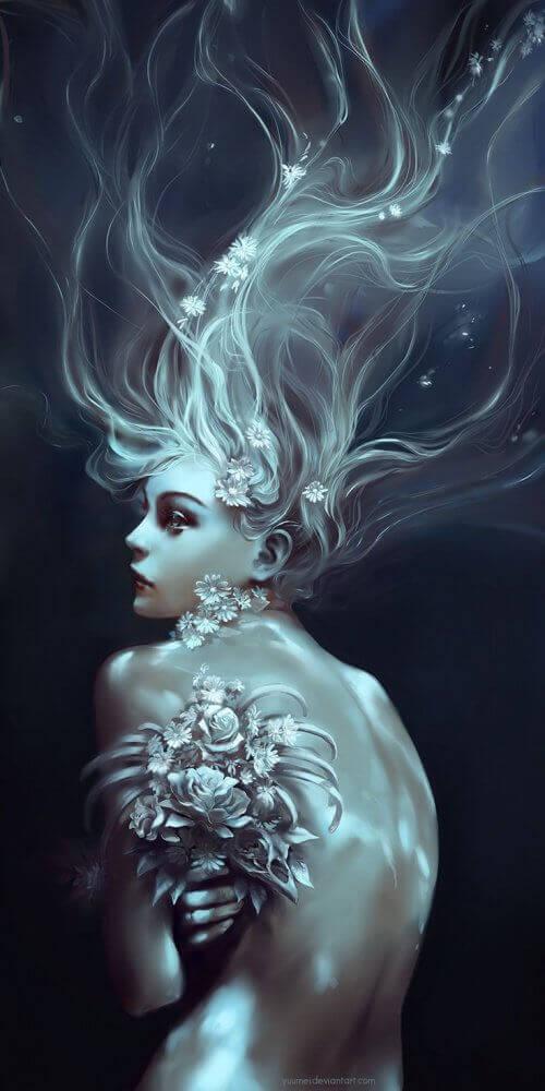 Vrouw met Bloemen in Haar