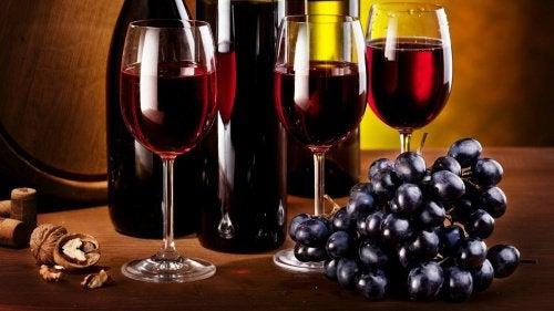 Rode Wijn en Druiven