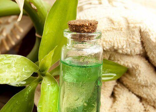 Groene olie in een flesje