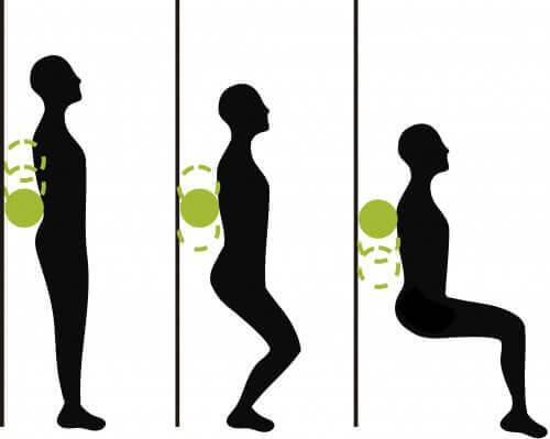 Kniepijn verjagen met squats tegen de muur