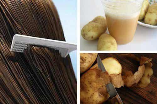 Aardappelsap om de haargroei te stimuleren