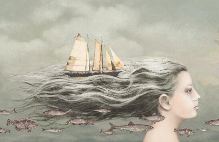 Boot in een zee van haar