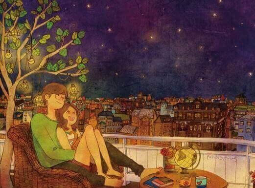 Stel kijkt naar de sterren