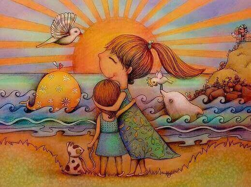 tekening moeder en kind knuffelen