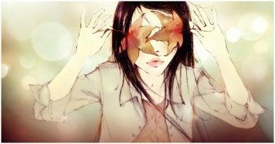 tekening van vrouw met bedekte ogen
