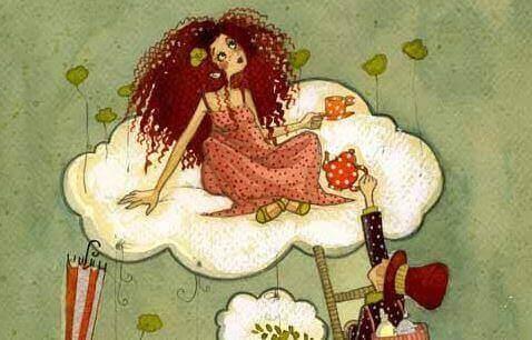 tekening van vrouw op een wolk