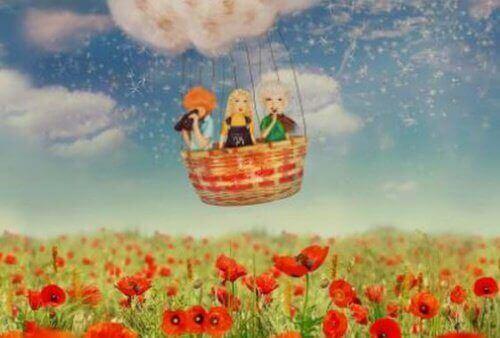 tekening van vrienden in luchtballon