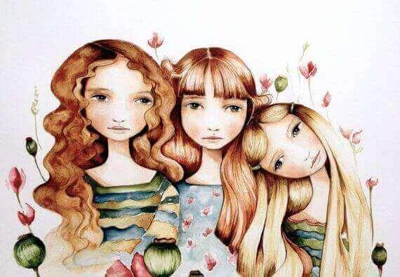 tekening van zusjes