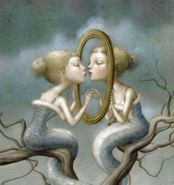 tekening meisje met spiegelbeeld
