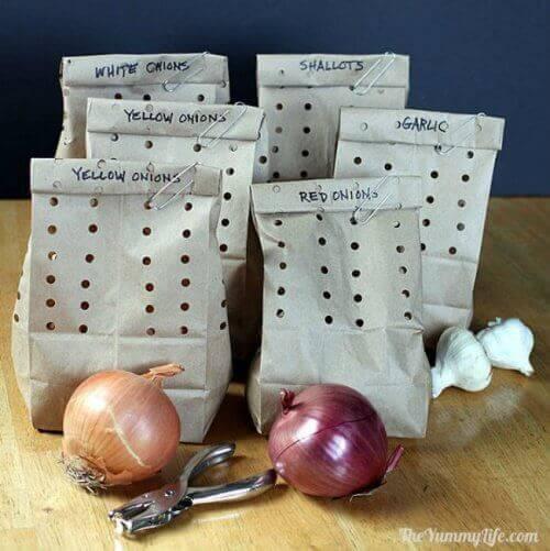 Doe uien in een zak