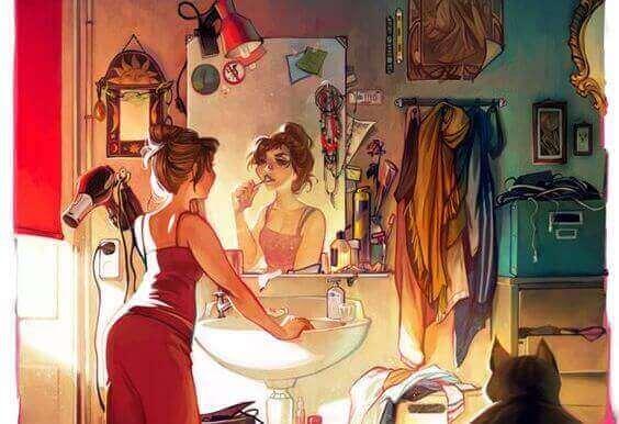 vrouw staat voor een spiegel