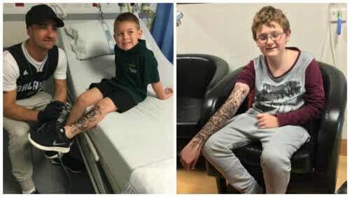 Man geeft zieke kinderen kracht door 'tijdelijke tattoos' te zetten