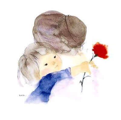 Oma en kleinkind knuffelen