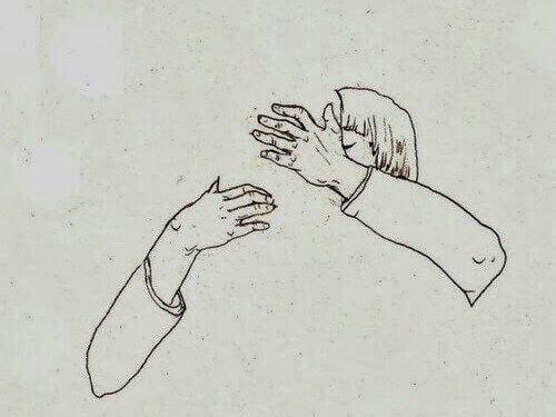 tekening knuffelende mensen
