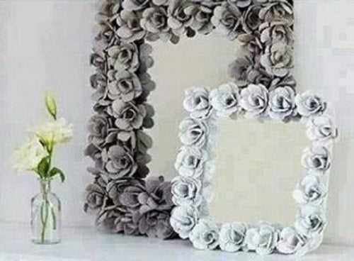 Spiegel met Bloemen van Eierdoos