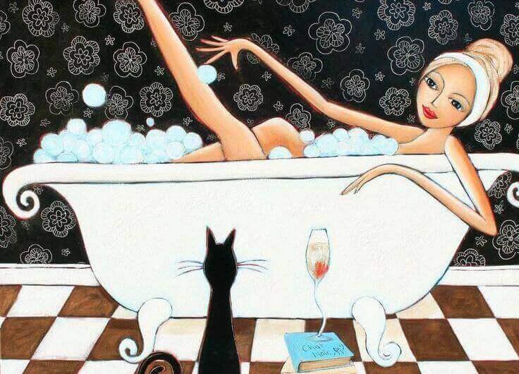 Tijd vrouw in bad