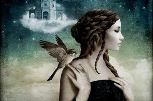 meisje met vogel op haar schouder