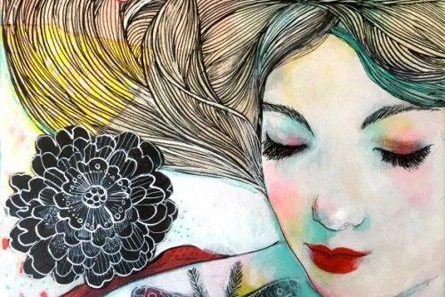 Een vrouw met een bloem