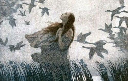 Vrouw met Vogels