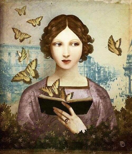 Een vrouw met een boek