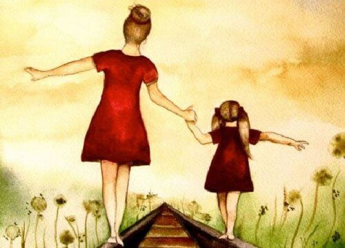Moeder en dochter in balans op rails