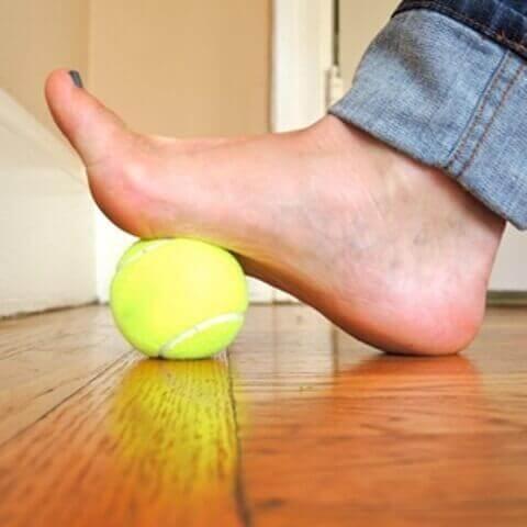 Oefening met tennisbal