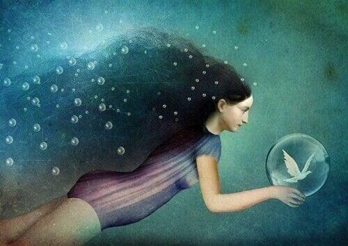 tekening zwemmende vrouw met duif