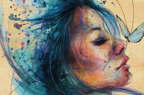 tekening vrouw met vlinder