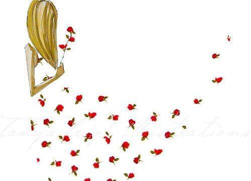 Vrouw met rozenjurk