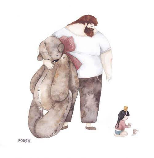 Vader en dochter met beer