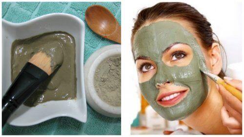 Groen gezichtsmasker om acne te verwijderen