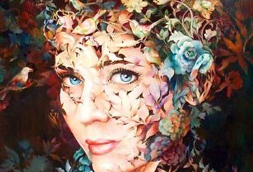 Een vrouw met bloemen