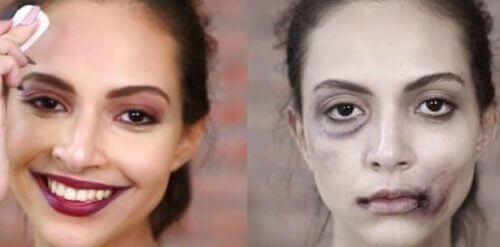 Signalen van misbruik bij vrouwenzoals het verhullen van blauwe plekken met make-up