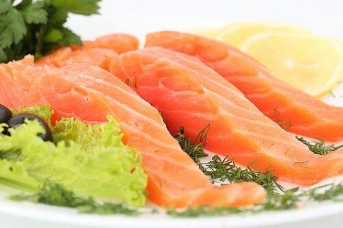 Gezonde slagaderen met vette vis zoals zalm