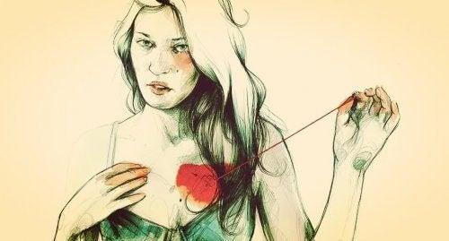 Vrouw Die Haar Hart Weer Aan Elkaar Rijgt