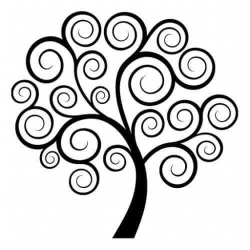 spiralen in de vorm van een boom