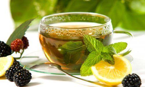 Groene thee te drinken met gember en citroen