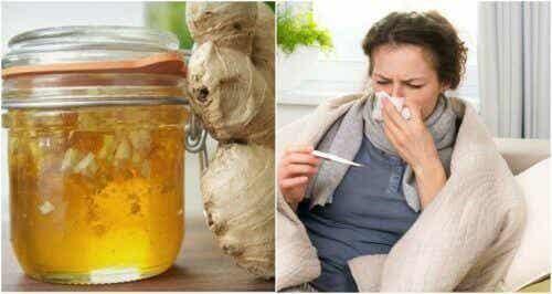 Siroop met honing en gember om verkoudheden te bestrijden