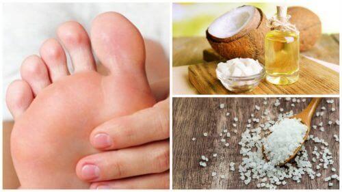 Je voeten scrubben met kokosolie en zout