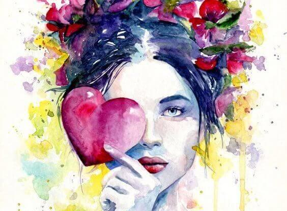 Meisje met hart voor haar oog