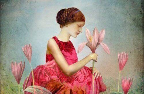 Een meisje met bloemen