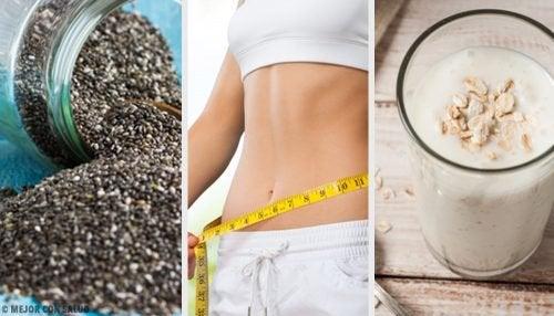 Smoothie voor gewichtsverlies met peer, chiazaad en haver