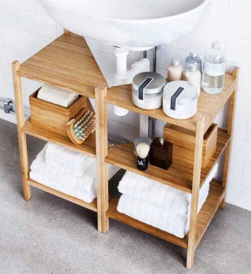 Open kastjes voor het decoreren van je badkamer