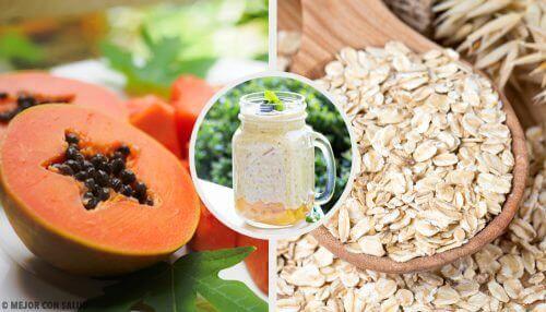 Smoothie van papaja, appel en haver voor je spijsvertering