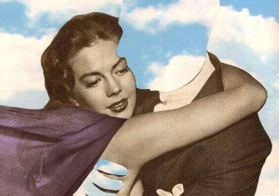 Vrouw die een man zonder gezicht omhelst