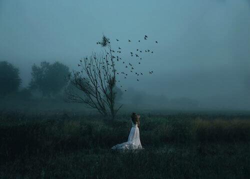Vrouw alleen in een veld met een boom